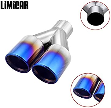 """Upower Pack of 2 Dual 2.5 Inch Inlet 3.5/"""" Outlet Exhaust Tip Tail Pipe Blue B..."""