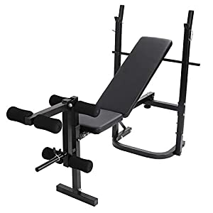 [US in Stock] Multifunctional Workout Station Adjustable Weight Bench with Squat Rack,Leg Extension,Weight Storage, Adjustable Beach Bearing 500 LbsCapacity,Dumbbell Rack Maximum Load 440 Lbs