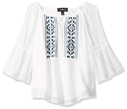 Amy Byer Girls' Big Embroidered Peasant Top, Ivory, M