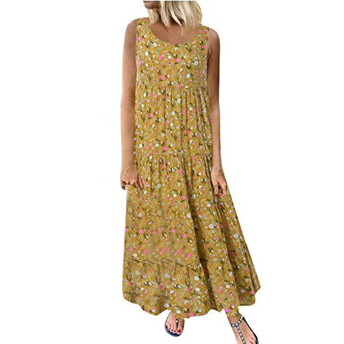 Sunmoot Clearance Sale Women's Linen Floral Dress Plus Size,Ladies Casual Loose Sleeveless Print Boho Retro Long Maxi Dresses Yellow ()