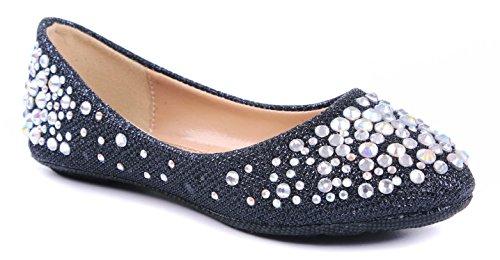 JJF Shoes LARISA Kids Black Loafer Slip Rhinestone Fashion G