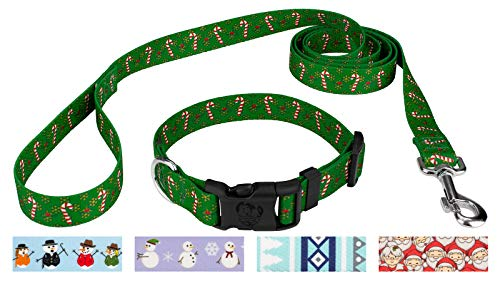 (Country Brook Petz | Candy Cane Christmas Deluxe Dog Collar and Leash Set- Christmas Collection with 11 Designs (Medium))