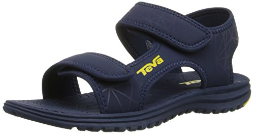 Teva Tidepool Sport Sandal (Toddler/Little Kid/Big Kid), Navy/Yellow Print-T, 4 M US Big Kid (Teva Sandals Kids compare prices)