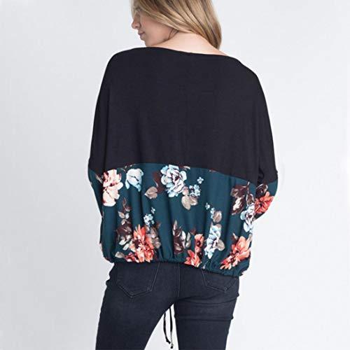 Floral Lacets Top Vrac Manches Femme Imprim en Bringbring T Vert Shirt Shirt Longues Chemisier q0xvU44X8w