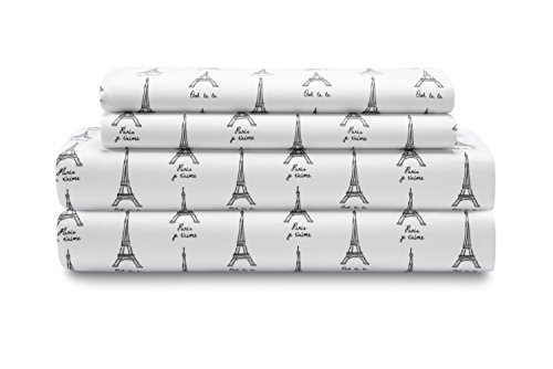 Elite Home Products Microfiber 90 GSM Whimsical Printed Deep-Pocketed Sheet Set, Queen, White Paris (Sheets Eiffel Tower)