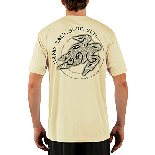 (SAND.SALT.SURF.SUN. Polynesian Sea Turtle Men's UPF 50+ Short Sleeve T-Shirt Medium Pale Yellow)