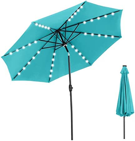 OVASTLKUY 10ft Solar LED Patio Umbrella Outdoor Umbrella