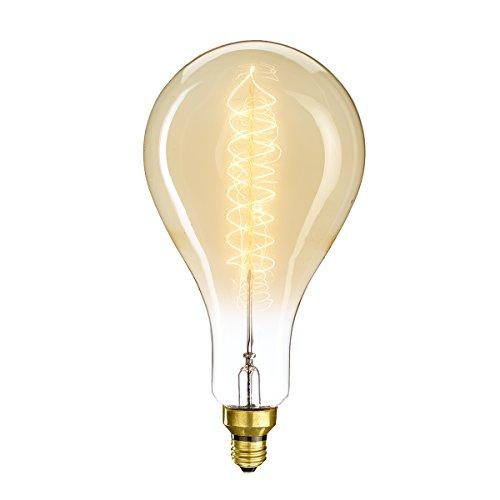 Bulbrite 137101 Dimmable Grand Nostalgic Pear Shaped PS56 Incandescent Light Bulb, 60 Watt, Antique