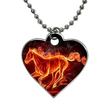 Burning Fire Running Horse Smoke Black Wallpaper Pet Dog Tag Heart Shaped 2 Sides