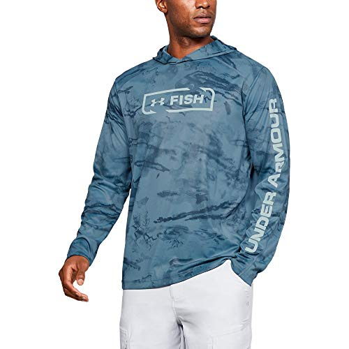 Under Armour Outerwear Men's IsoChill Shore Break Camo Hoodie, Thunder Medium Heather (407)/Coded Blue, Small (Camo Hoodies Under Armour)
