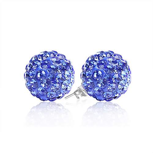 (BAYUEBA 925 Sterling Silver Crystal Ball Stud Earrings 8mm Sapphire)