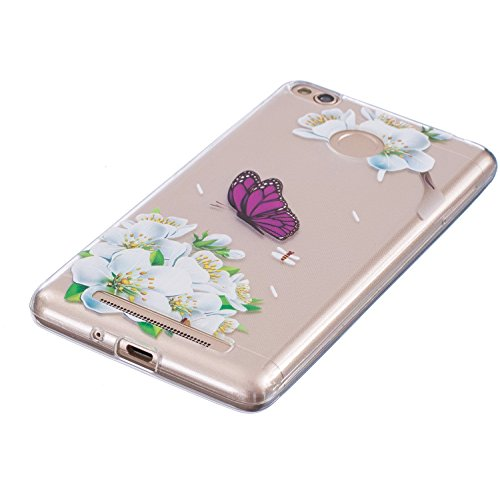 Funda Cover Xiaomi Redmi 3S ,Ukayfe Funda de Silicona TPU para Xiaomi Redmi 3S Carcasa Transparente Soft Clear Case Cover Funda Blanda Flexible Carcasa Delgado Ligero Caja Anti Rasguños Anti Choque co Púrpura de la mariposa blanca