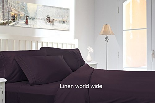 Bed Sheets Bedding Set By HCS Hotels Collection 2100 (New Edition),both Side Brushed,super Soft,hypoallergenic & Wrinkle Free 3 Pieces Set (Extra Long Twin, Egg Plant/Purple)
