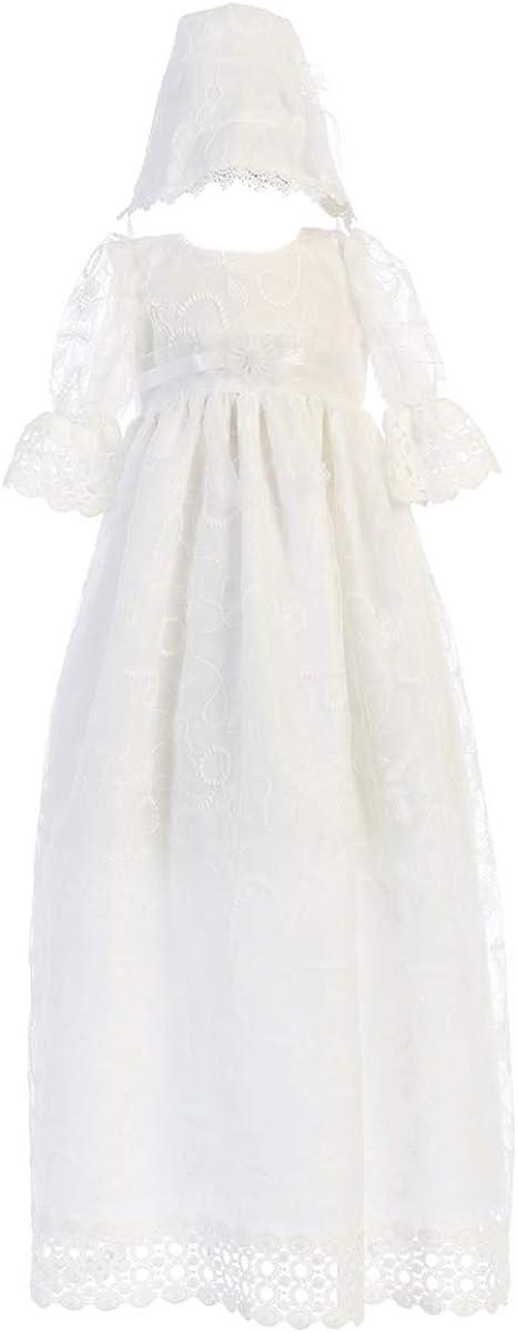 Baby Flower Girls White Satin Plaid Organza Dress Christening Baptism Dedication