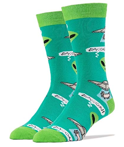 Oooh Yeah! Men's Cotton Crew Sock (Bacon Abduction, Sock Size 10-13 Shoe Size 8-13) from ooohyeah