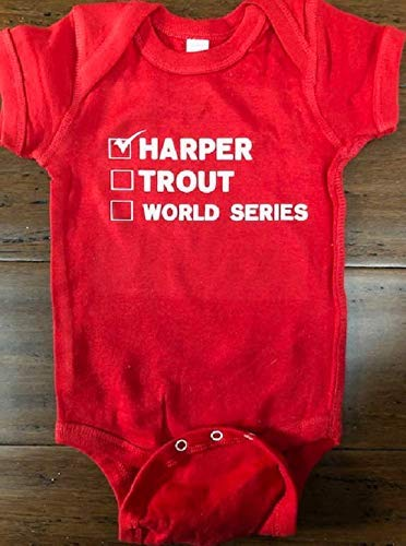 d1a0b7991 Amazon.com: Bryce Harper Philadelphia Phillies baby onesie Mike Trout  infant one piece: Handmade
