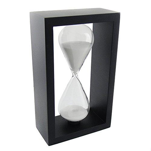VStoy Wooden Frame Hourglass Sand Timer Black Frame Blue Sand ... (Black Frame White 60 Minutes)