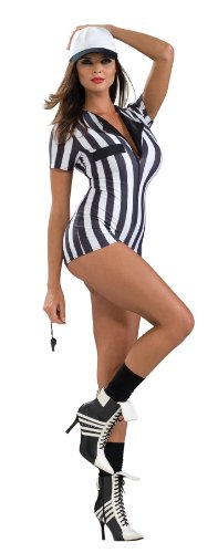 Costume Referee Shoes (Secret Wishes Women's Sexy Referee Costume Romper, Black/White, Medium)
