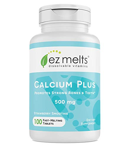 (EZ Melts Calcium Plus with Vegan D3 and Magnesium, 500 mg, Sublingual Vitamins, Vegan, Zero Sugar, Natural Strawberry Flavor, 100 Fast Dissolve Tablets)