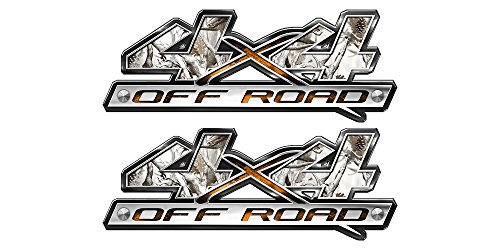 (Speed Demon Hot Rod Shop 4x4 Off Road Decals Set of 2 Buck Skull Snow Camouflage 4WD Truck Stickers BLO4 )