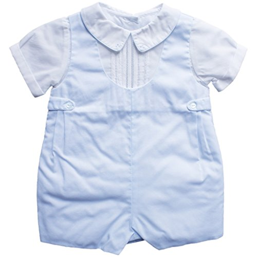 Petit Ami Baby Boys' Shortall with Pintucks and Side Tabs, 24 Months, Blue ()