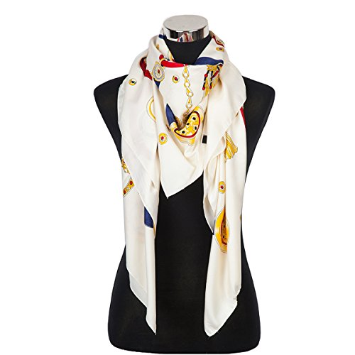 Large Square Designer Style Scarf Stars and Medallions Design, Ivory (Star Medallions Border)