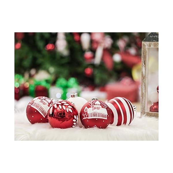 Valery Madelyn Palle di Natale 16 Pezzi 8cm Palline di Natale, Tradizionali Ornamenti di Palle di Natale Infrangibili Rossi e Bianchi per la Decorazione Dell'Albero di Natale 6 spesavip