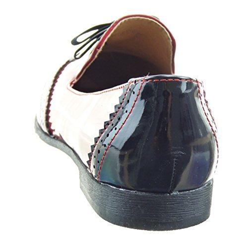 Sopily - Zapatillas de Moda Mocasines Bailarinas Tobillo mujer perforado nodo patentes Talón Tacón ancho 2 CM - Rojo