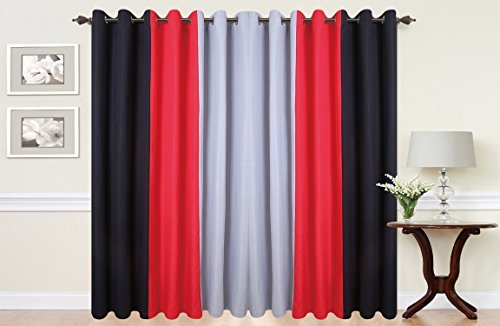 Ringtop Eyelet Curtains Fully Lined HIGH QUALITY 140 GSM Fabric PLAIN 3 TONE RED Black Grey 66 Wide X 72 Drop Amazoncouk Kitchen Home