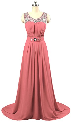 Vantexi Women's Beaded Straps Bridesmaid Long Evening Gown Coral 16