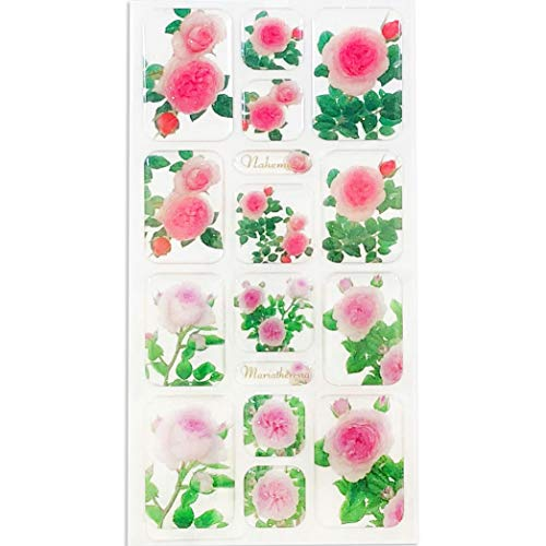 Frontia Cute Flower Floral Japanese Stickers Seals Envelope 3D Puffy Sparkle Glitter dot Decoratiove Gift Label