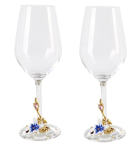 Crystal Wine Glasses with Enamel Crystal Diamond Stem (12 oz)