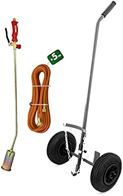 Kit Quitahierbas térmico + carrito ruedas hinchables + manguera 5 M – Naranja