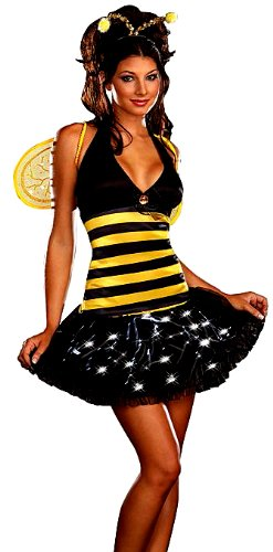 Women's Light Up Bumble Bee Costume, Black/Yellow, Large
