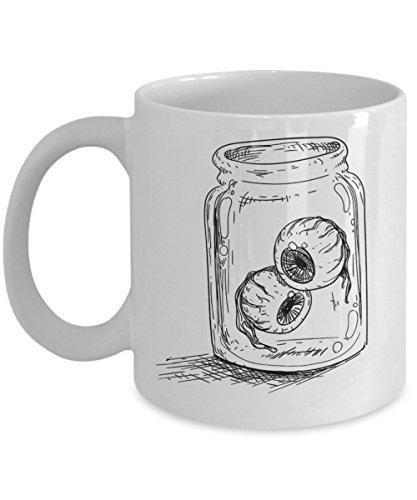 Funny Halloween Mug - Scary Eyeballs in Bottle Charm Perfect Coffee Mug For Your Halloween -