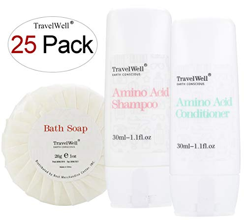 TRAVELWELL Individually Wrapped 30ml Shampoo 25 Bottles + Conditioner, 25 Bottles + Round Tissue Pleated 28g Cleaning Travel Soap In Bulk, 25 Bars ()