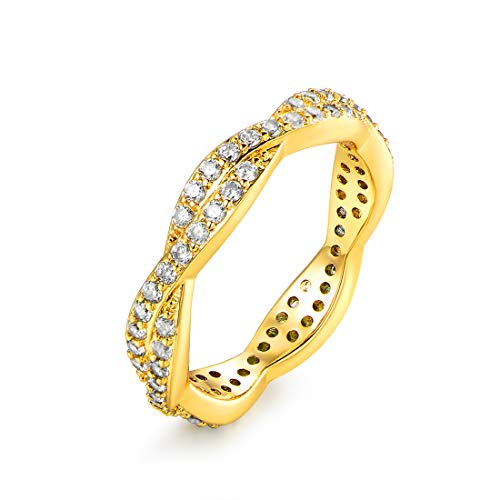 Barzel 18k Gold Plated, White Gold Plated & Rose Gold Plated Twisted Cubic Zirconia Eternity Ring Band (Gold, 10)