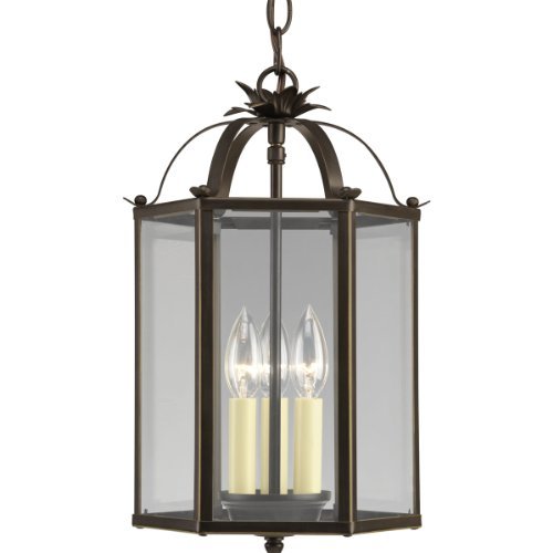 Cheap Progress Lighting P3645-20 6-Sided Foyer Fixture with Clear Flat Glass and Chain and Ceiling Mountings Both Included, Antique Bronze