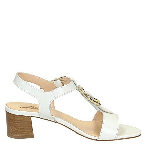 3361VITELLOBIANCO Femme LEONARDO SHOES Blanc Sandales Cuir F6fc7PwqT