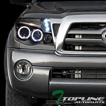 Topline autopart Proyector de Halo LED negro cabeza luces AM W/Paragolpes lámparas de niebla humo DY 05 - 11 Tacoma: Amazon.es: Coche y moto