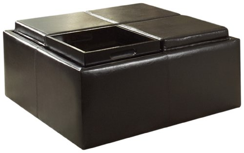 homelegance contemporary storage ottoman with four flip top tray inserts dark brown. Black Bedroom Furniture Sets. Home Design Ideas