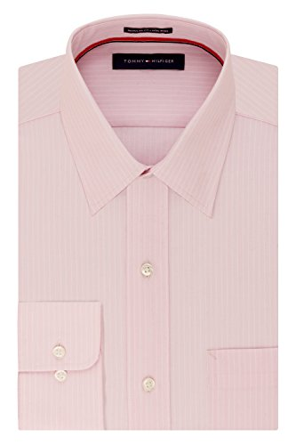 Tommy Hilfiger Men's Big and Tall Non Iron Regular Fit Banker Stripe Point Collar Dress Shirt, Rose, 17.5