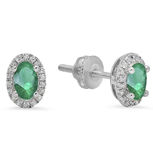 Oval 5x3mm Emerald (14K White Gold 5X3 MM Each Oval Lab Created Emerald & Round Diamond Ladies Halo Stud Earrings)
