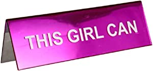 This Girl Can - Pink Desk Office Name Plate - Motivational Inspirational Quote Accessory Nameplate Lady Woman Boss