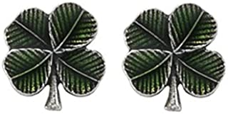 product image for DANFORTH - Clover/Green Mini Post Earrings - 3/8 Inch - Pewter - Handcrafted - Made in USA