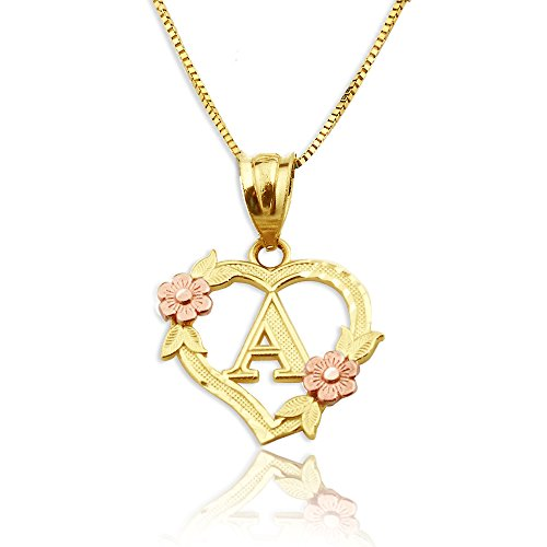 - LOVEBLING 10K Yellow Gold Alphabet Initial Charm Necklace Pendant with Beautiful Heart and Rose Border (A)