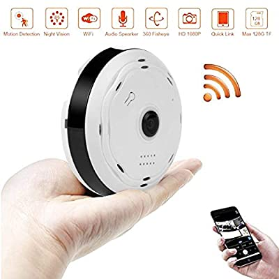 BlueHills White Compact Security Camera Ceiling Walls HD 1080P Night Vision Motion Detector & Two-Way Audio - Monitor Front-Door Home Business Kids Baby Dog Cat & Pets App in Cell Phone