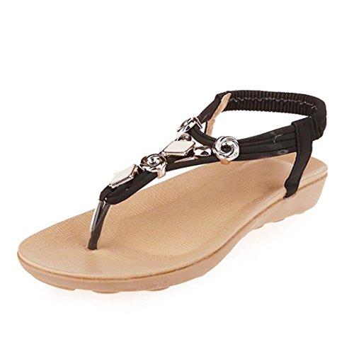 FEITONG Mujer Zapatos planos Rebordeado Bohemia Sandalias de ocio Peep toe Dar la vuelta Flops Zapatos Negro