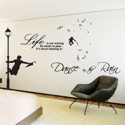 High Quality Large Dance In The Rain Wall Art Sticker,Quotes Wall,Wall Decals/Wall Part 29