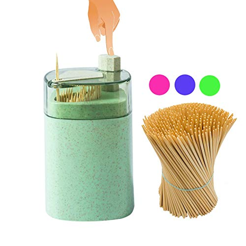 Toothpick Holder Dispenser Automatic+Toothpicks Pak – Designed in US – Small &Spacious(Green)